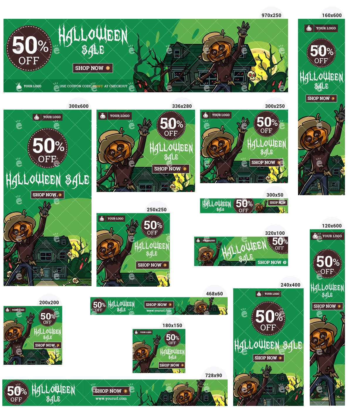 Halloween Banner Set 3 - Scarecrow And Haunted House