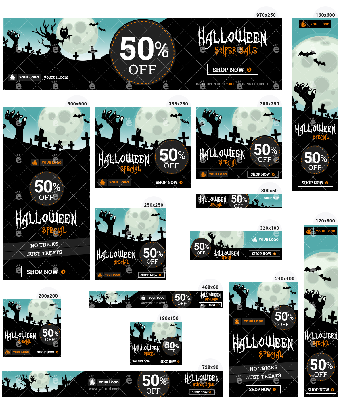 Halloween Banner Set 2 - Zombie Hand Creepy Night