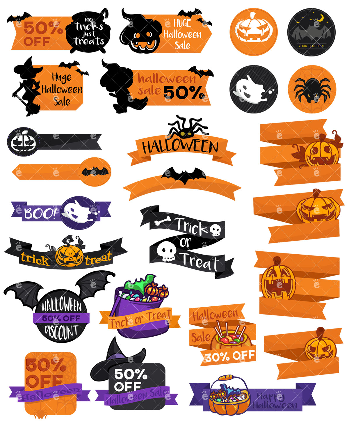 25 Halloween PSD Design Elements