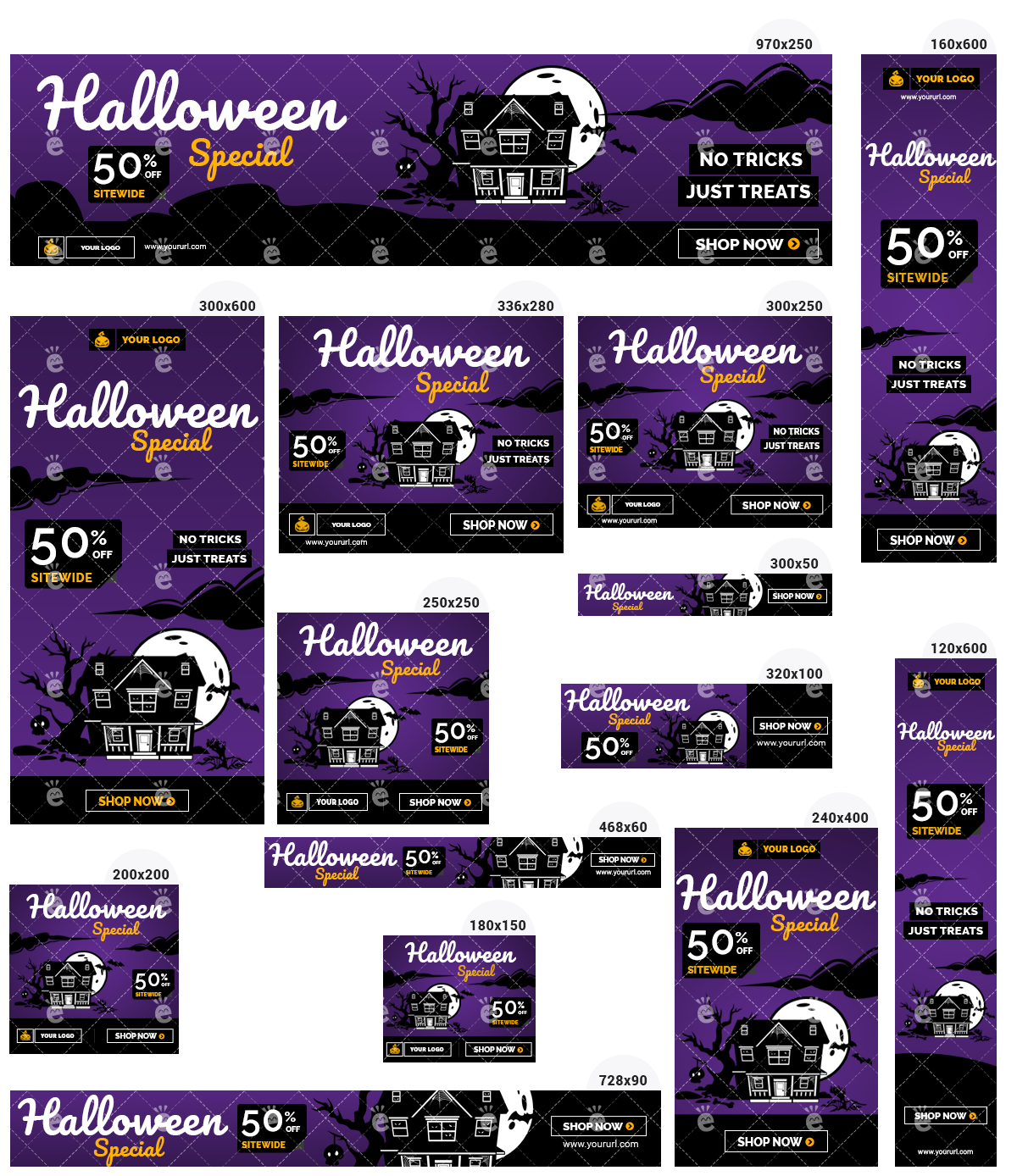 Halloween Banner Set 4 - Purple Background Haunted House