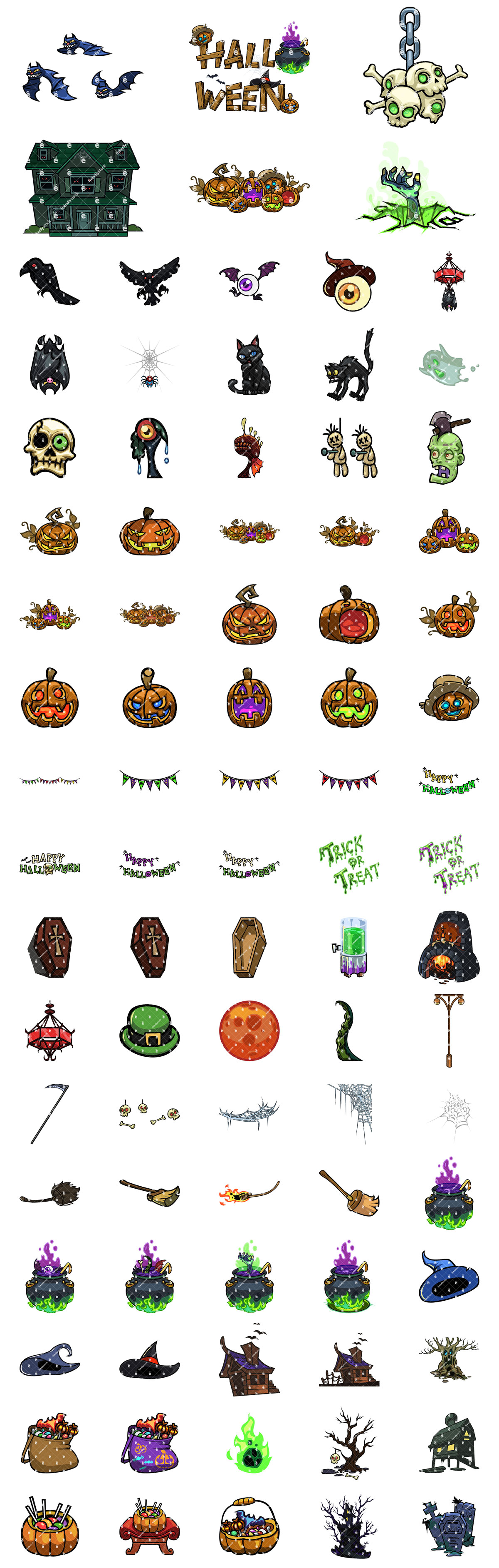 Halloween Decorations, Items, And Objects Graphics Collection