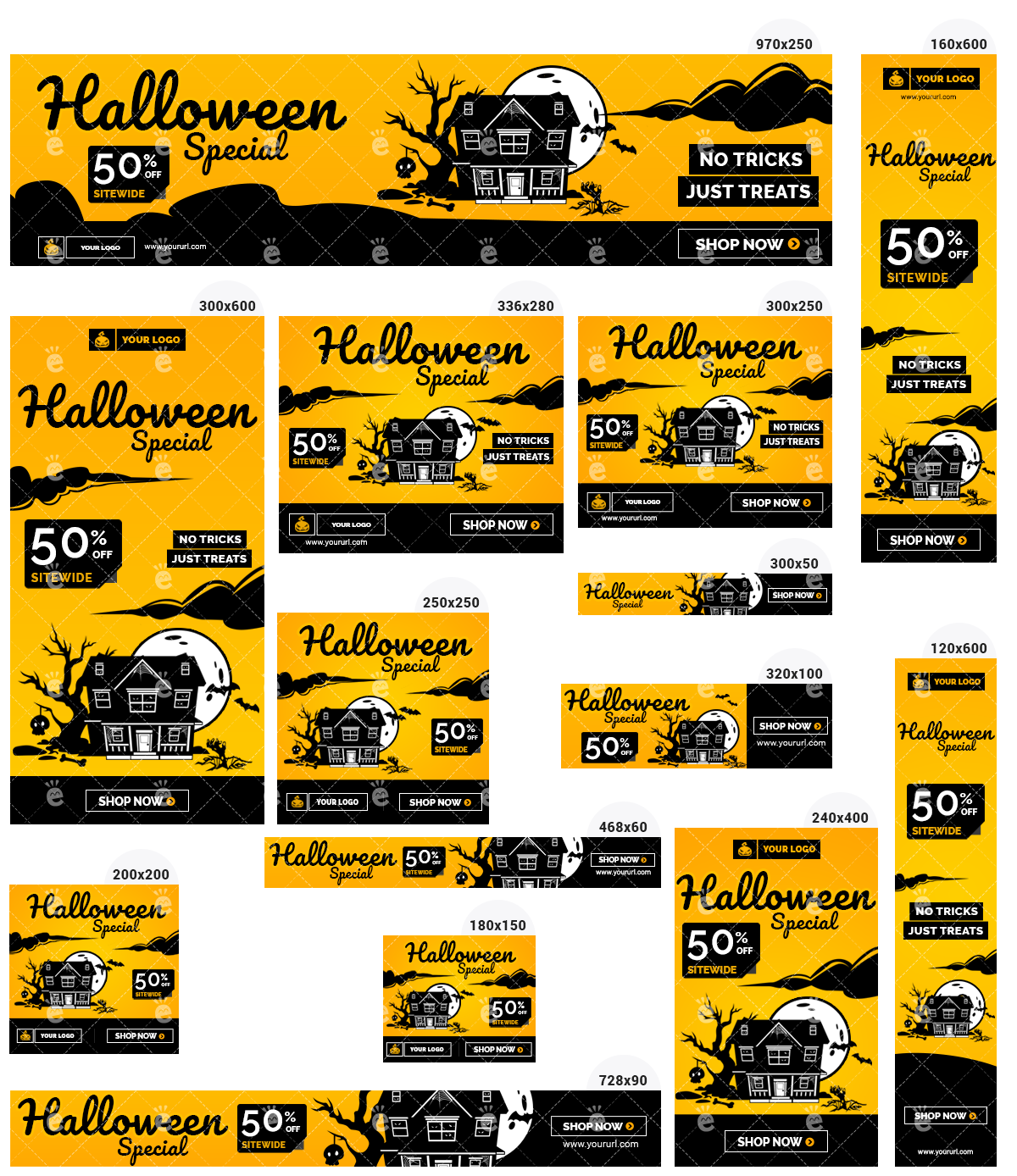 Halloween Banner Set 1 - Haunted House