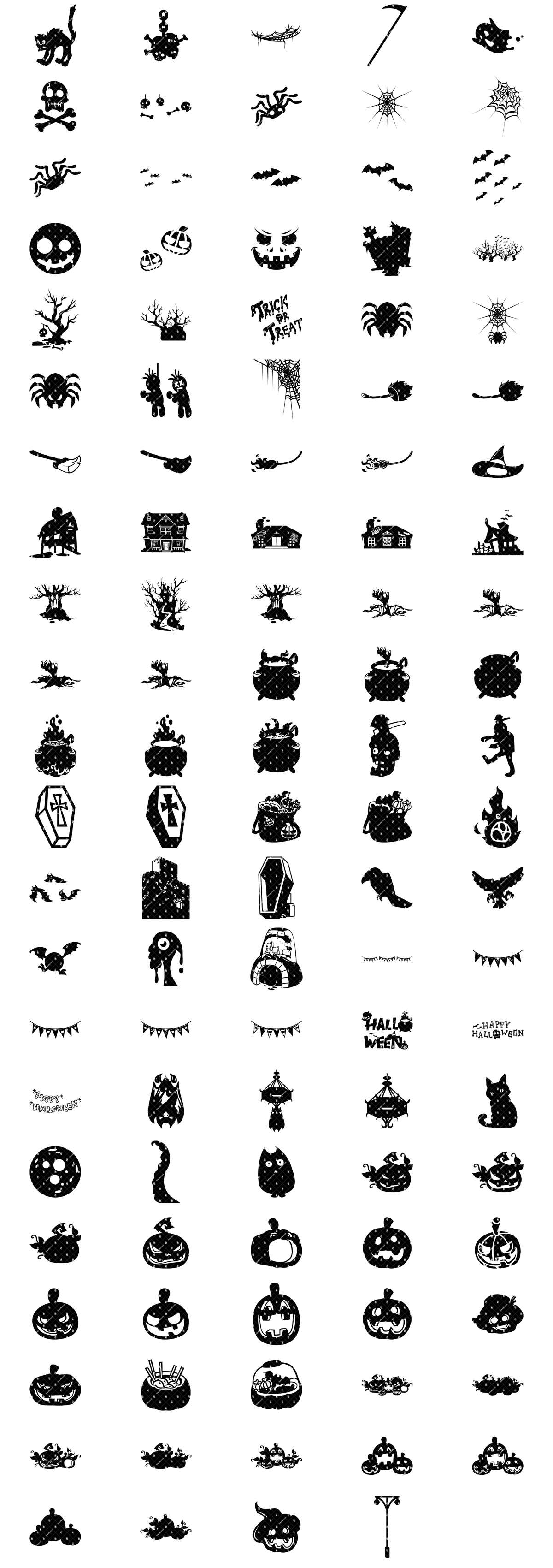 Halloween Themed Objects And Items Silhouettes