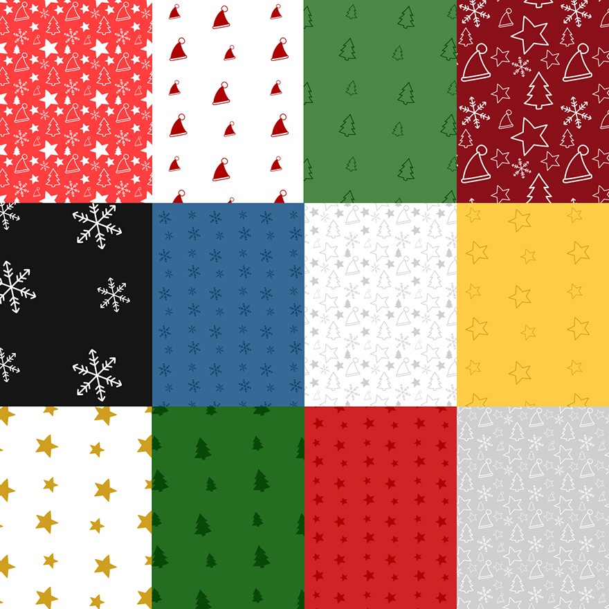 40 Christmas-themed seamless Photoshop patterns - examples