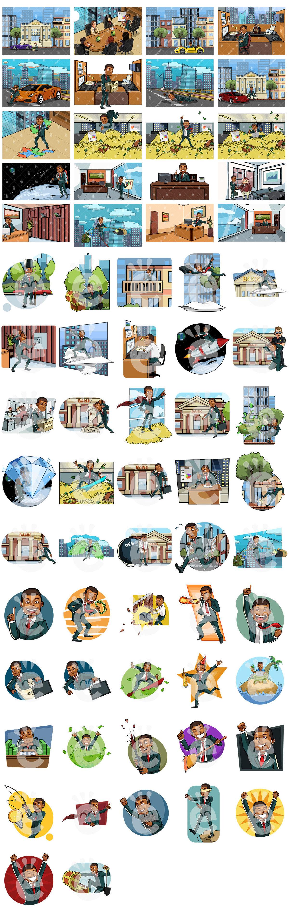 65 Business Vector Scenes