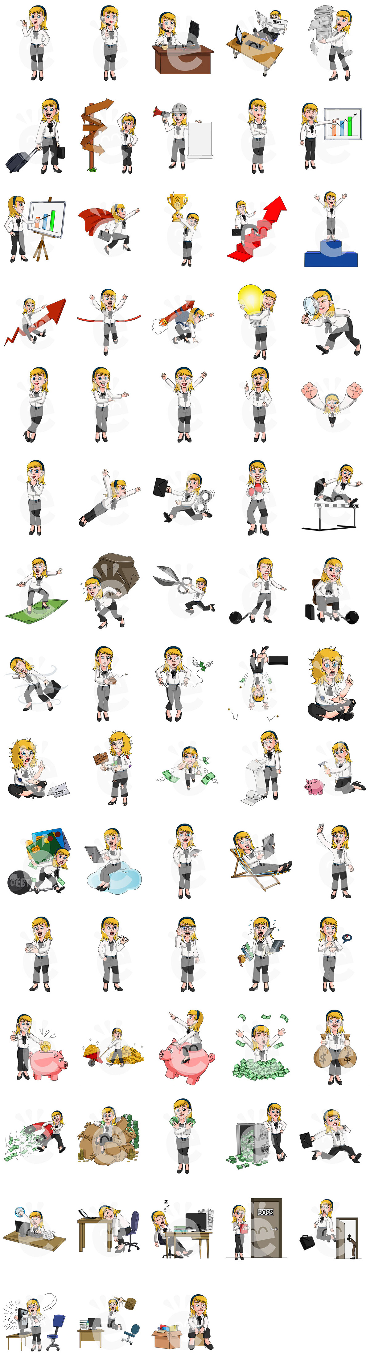 Color Preview Of The 72 SVG Poses Of Emily The Businesswoman