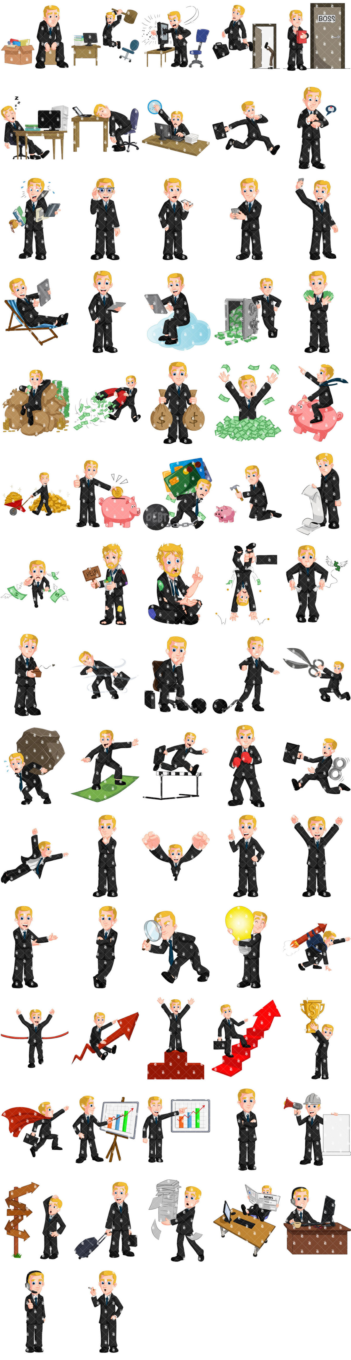 Preview Of The 72 Poses Of Harvey The Businessman