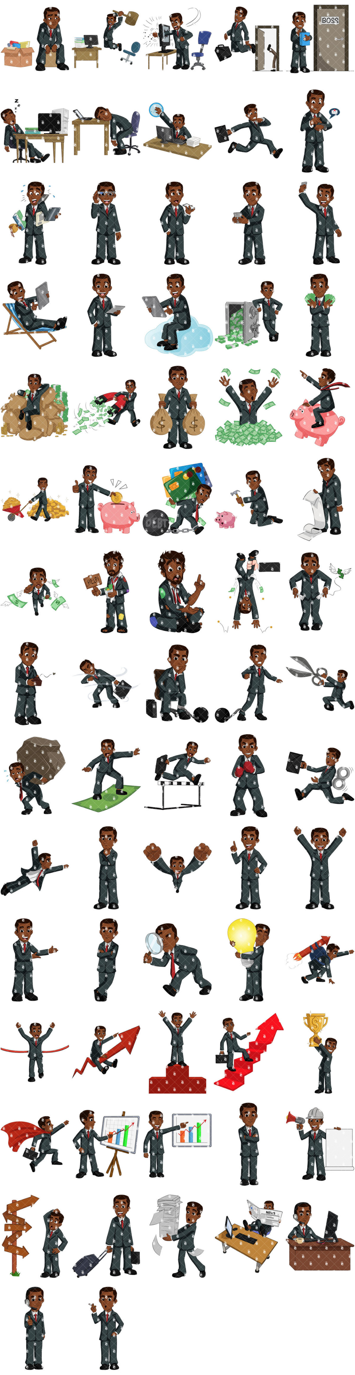 Preview Of The 72 Poses Of Samuel The Black Businessman
